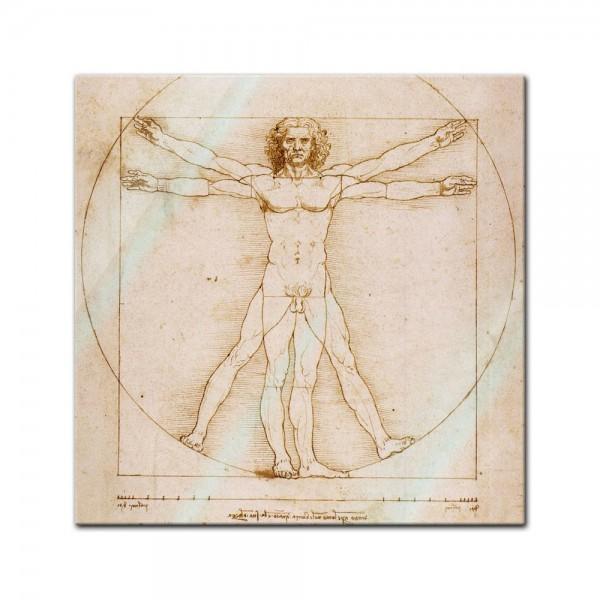 Glasbild Leonardo da Vinci - Alte Meister - Vitruvianischer Mensch