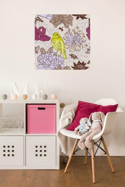 selbstklebende Fototapete - Kinderbild - Vogel mit Blumen