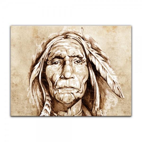 Leinwandbild - Indianer, Tattoo Art