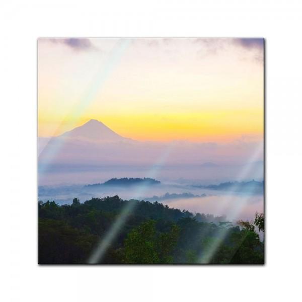 Glasbild - Merapi Vulkan - Indonesien