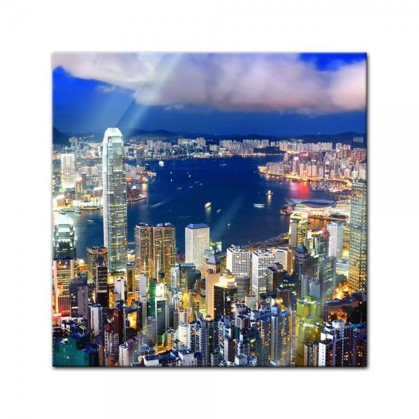 Glasbild - Hong Kong central district
