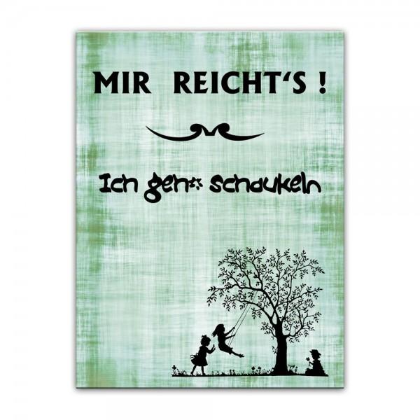 Leinwandbild mit Spruch - Ich geh' schaukeln - grün