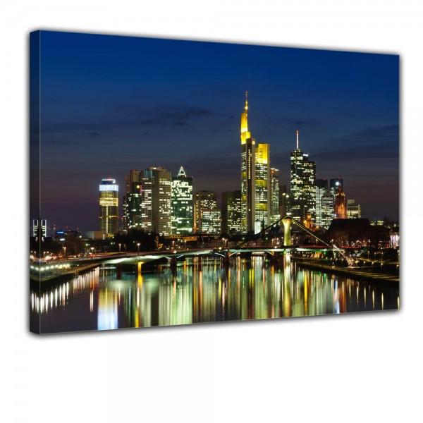 SALE Leinwandbild - Frankfurt Skyline bei Nacht - 70x50 cm