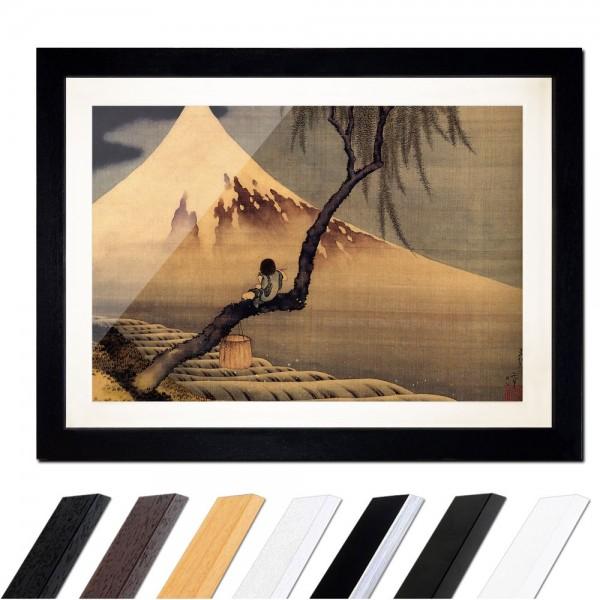 Katsushika Hokusai - Flötenspieler auf einem Trauerweidenzweig, den Fuji betrachtend