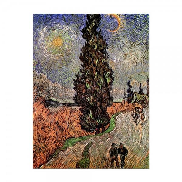 Leinwandbild - Vincent van Gogh - Zypressenweg unter dem Sternenhimmel
