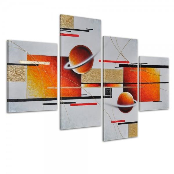 Abstrakte Kunst M2 - Leinwandbild 4 teilig 120x80cm Handgemalt