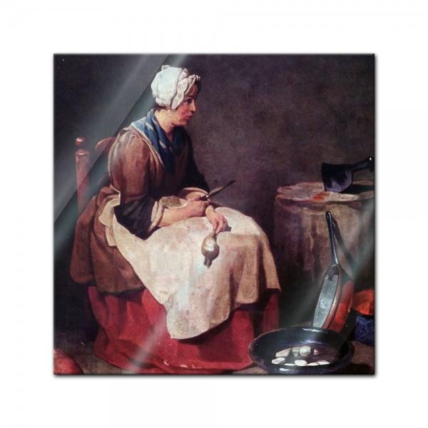 Glasbild Jean Siméon Chardin - Alte Meister - Die Rübenputzerin