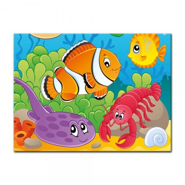 Leinwandbild - Kinderbild - Unterwasser Tiere VI
