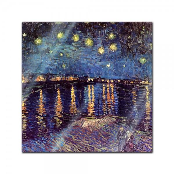 Glasbild Vincent van Gogh - Alte Meister - Sternennacht über der Rhône