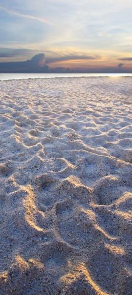 Türtapete selbstklebend Sandstrand mit Abendhimmel 90 x 200 cm Beach Meer Ozean Reisen Urlaub Sonne
