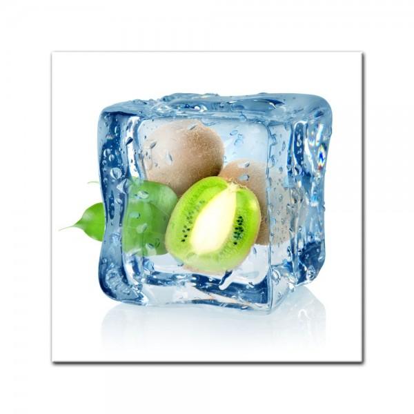 Leinwandbild - Eiswürfel Kiwi