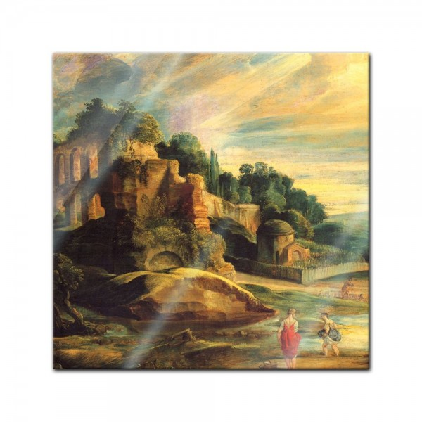 Glasbild Peter Paul Rubens - Alte Meister - Landschaft mit den Ruinen des Hügels Palatin in Rom -