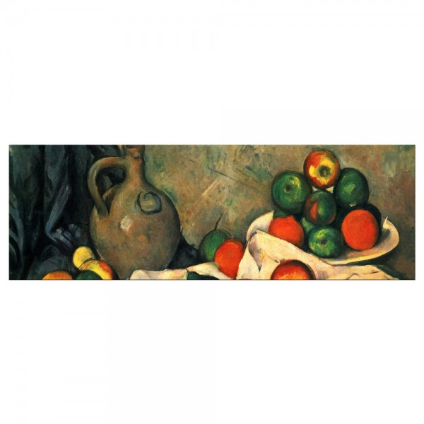 Leinwandbild - Paul Cézanne - Stillleben mit Vorhang, Krug und Obstschale