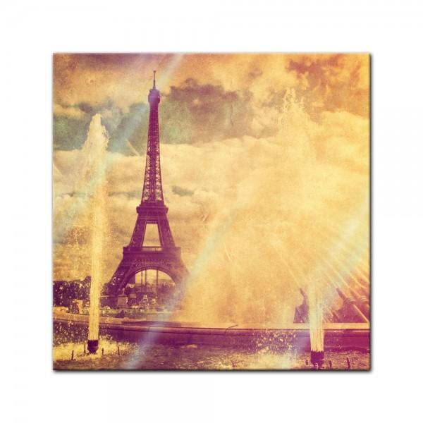 Glasbild - Eiffelturm im Retrostyle - Paris Frankreich