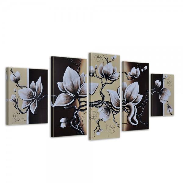SALE Blumen M2 - Leinwandbild 5 teilig 150x70cm Handgemalt