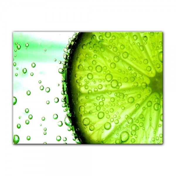 Leinwandbild - Limonenscheibe - Wasser