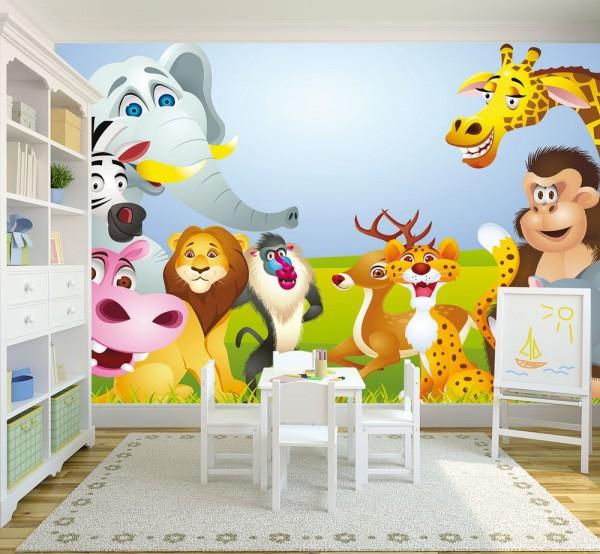 Fototapete - Kinderbild Tiere Cartoon IV