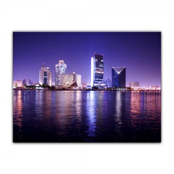Leinwandbild - Dubai - Nachtaufnahme, Vereinigte Arabische Emirate