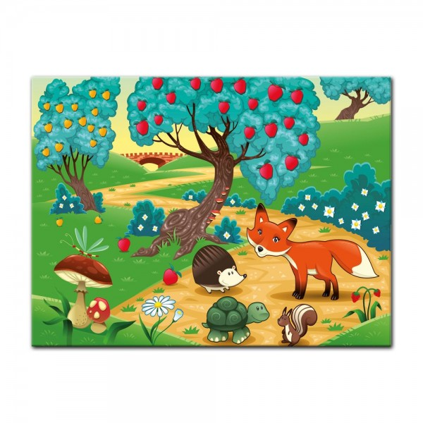 Leinwandbild - Kinderbild - Tiere im Wald