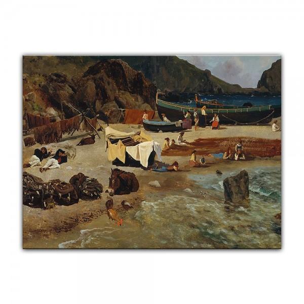 Leinwandbild - Albert Bierstadt - Fishing Boats at Capri - Fischerboote auf Capri