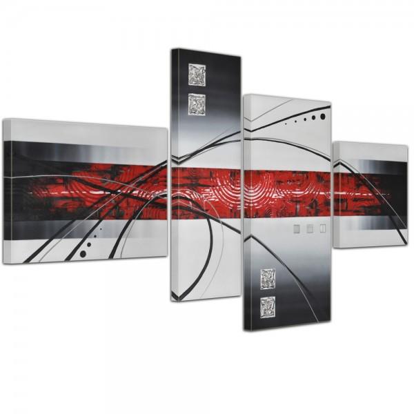 Abstrakte Kunst handgemaltes Leinwandbild 120x70cm 4 teilig 3032