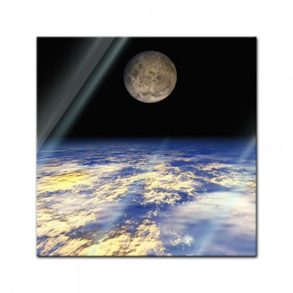 Glasbild - Erde und Mond