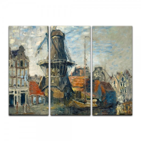 Leinwandbild - Claude Monet - Windmühle am Onbekende Kanal, Amsterdam