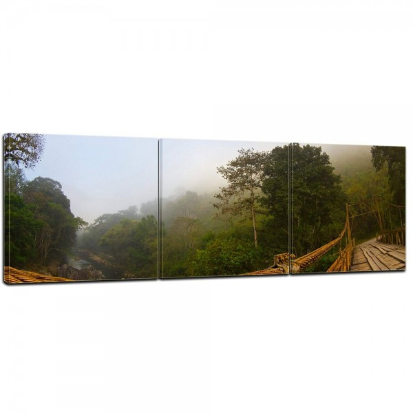 Wandbild - Brücke im Nebel - Guatemala 150x50cm - 3 teilig