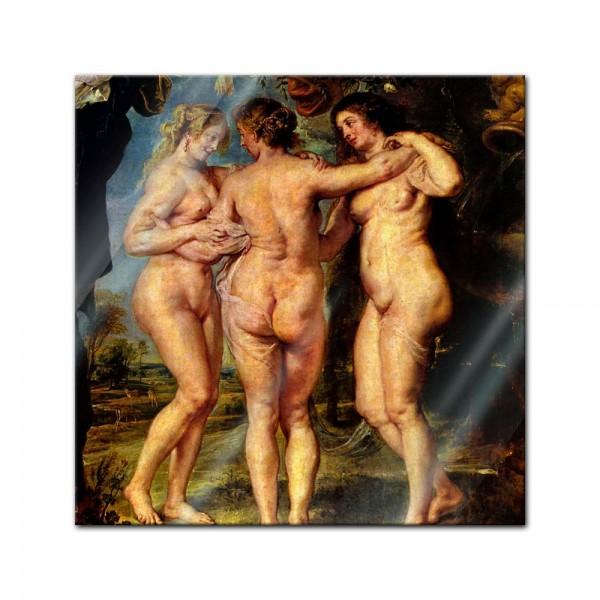 Glasbild Peter Paul Rubens - Alte Meister - Die drei Grazien -
