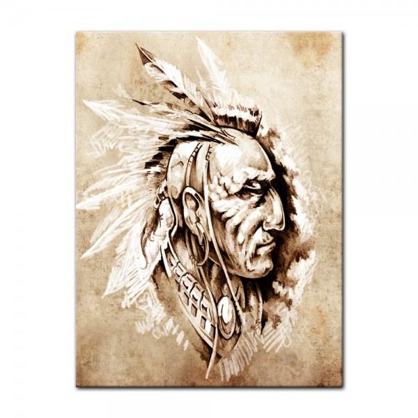 Leinwandbild - Indianer II, Tattoo Art