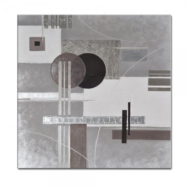 Abstrakte Kunst M7 handgemaltes Leinwandbild 80x80cm - 4cm Galerierahmen! - 807