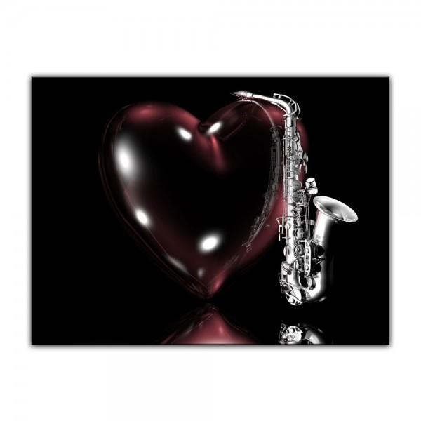Leinwandbild - Saxophon mit Herz