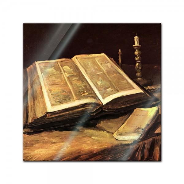 Glasbild Vincent van Gogh - Alte Meister - Stillleben mit Bibel