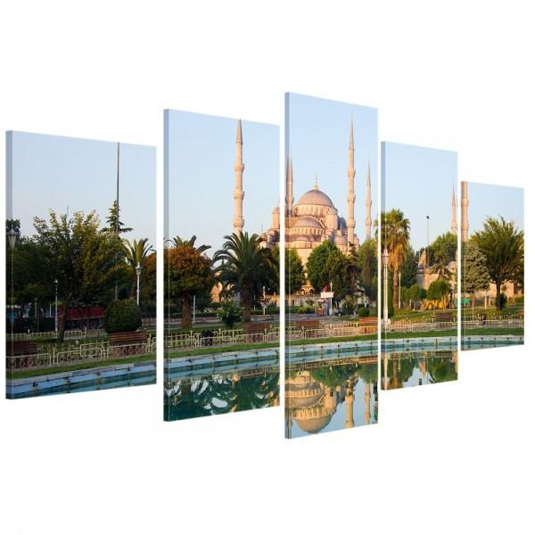 SALE Leinwandbild - Sultan-Ahmet-Moschee in Istanbul - Türkei - 100x50 cm 5tlg