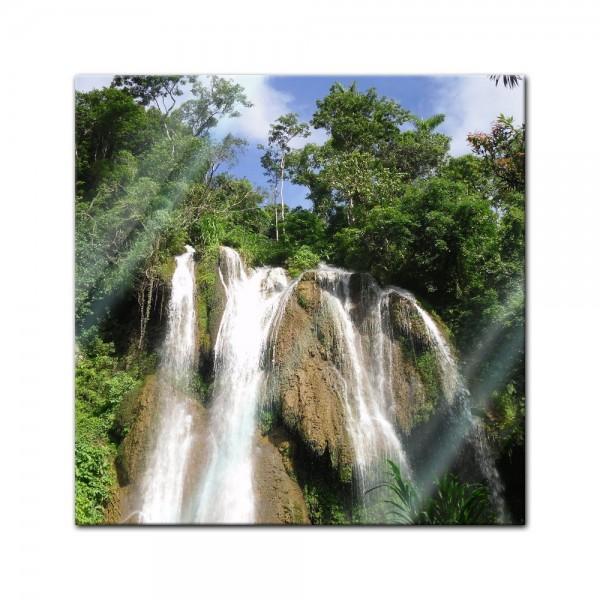 Glasbild - Wasserfall im Dschungel