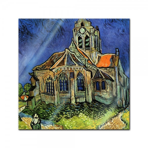 Glasbild Vincent van Gogh - Alte Meister - Die Kirche von Auvers