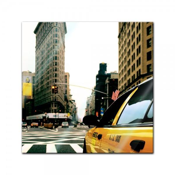 Glasbild - Yellow cab - New York USA