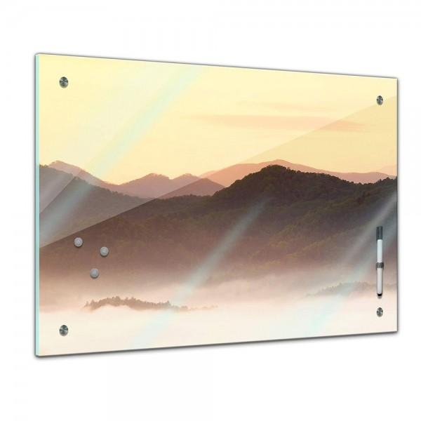 Memoboard - Landschaft - Nebliges Tal und Berge im Sonnenuntergang, USA