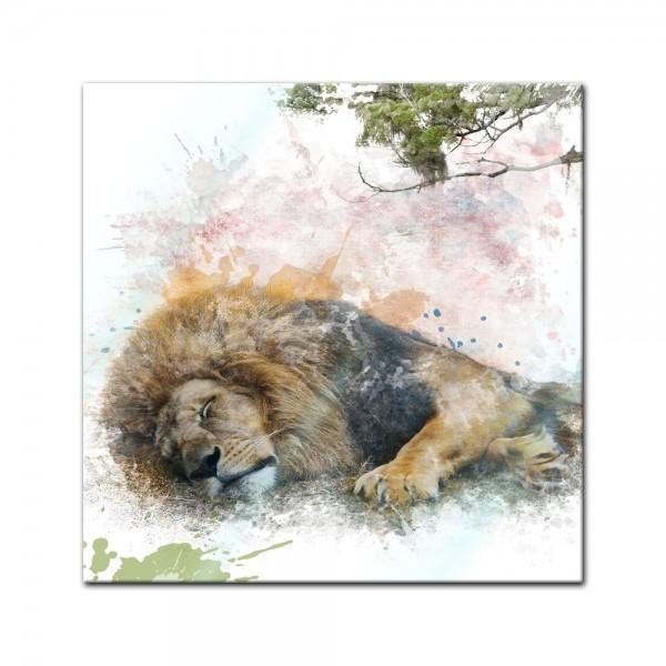 Glasbild Aquarell - Löwe II