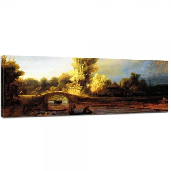SALE Leinwandbild - Rembrandt Landschaft mit Steinbrücke - 120x40 cm