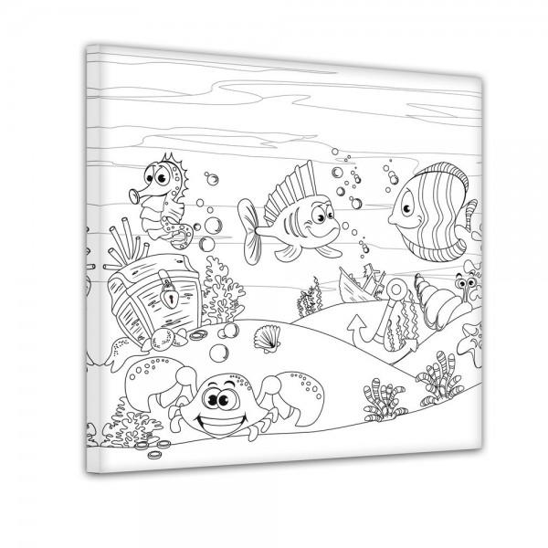 Fische mit Schatztruhe - Ausmalbild
