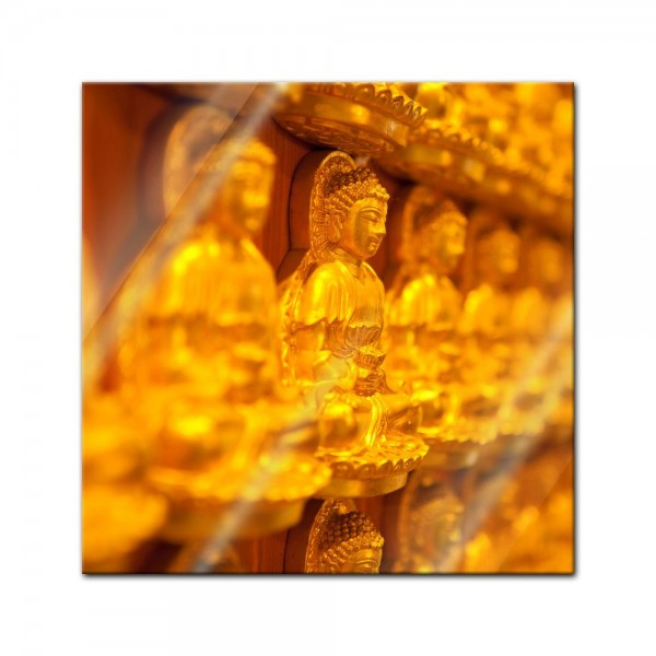 Glasbild - Goldener Buddha