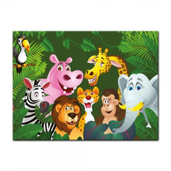 Leinwandbild - Kinderbild - Dschungeltiere Cartoon IV