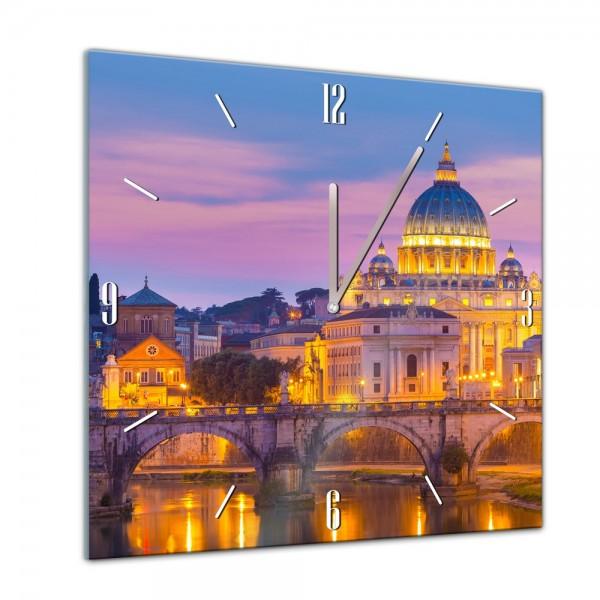Glasuhr - Städte, Seen & Landschaften - Basilika Sankt Peter im Vatikan in Rom - Petersdom - 40x40cm