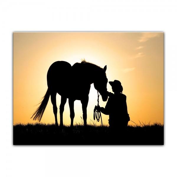 Leinwandbild - Pferd mit Cowboy