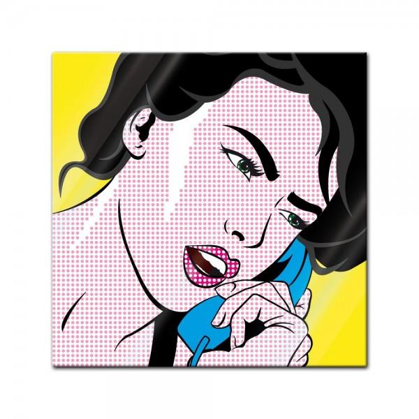Glasbild - Pop-Art Frau mit Telefon