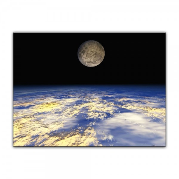 Leinwandbild - Erde und Mond