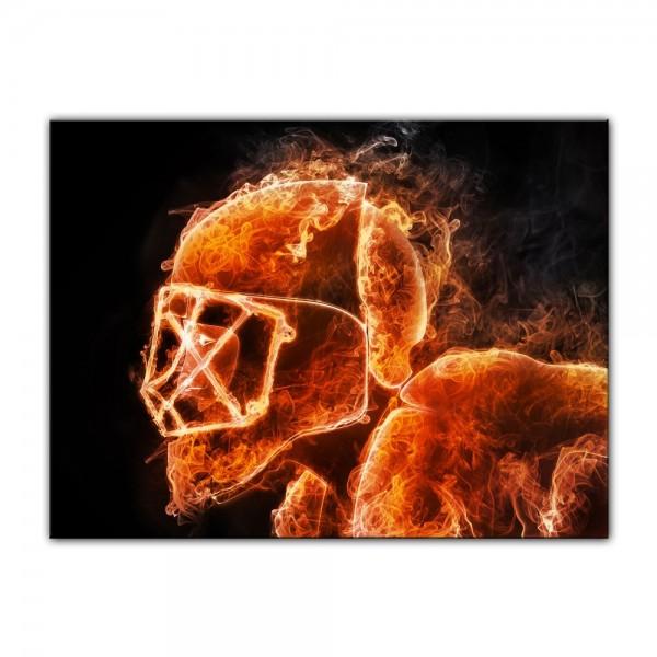 Leinwandbild - Hockeyspieler Feuer