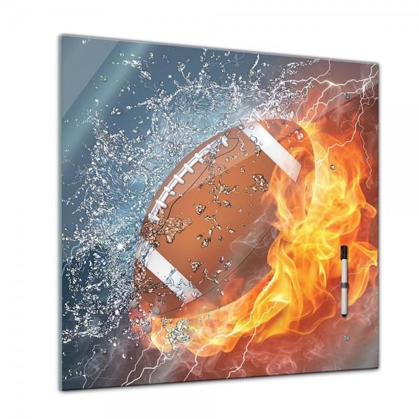 Memoboard - Männermotive - Football Feuer und Wasser - 40x40 cm