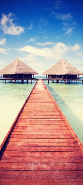 Türtapete selbstklebend Tropischer Steg Vintage 90 x 200 cm Indischer Ozean Insel Atoll Strand Lagu